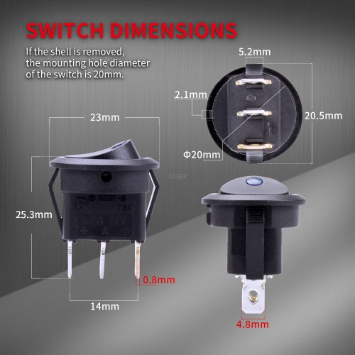 KCD1-8-101EN DaierTek Round LED Rocker Switch