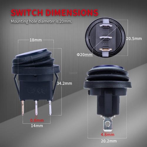 KCD1-8-101NW 12V WaterproofRocker Switch