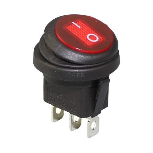 KCD1-8-103W Red Lighted 3 Prong Rocker Switch
