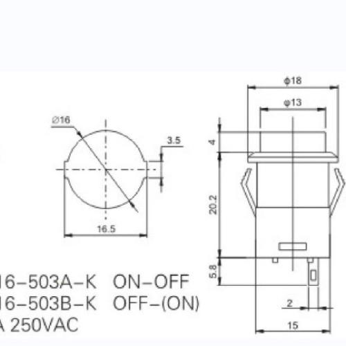 R16-503A-K 16mm 2 Pin Push Switch