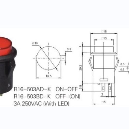 R16-503AD-K 16mm Illuminated Push Switch