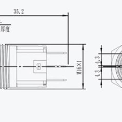 L16F-11M-S IP67 Plastic Push Button