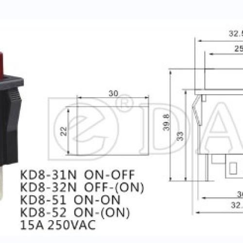 KD8-31N Illuminated Latch Push Switch