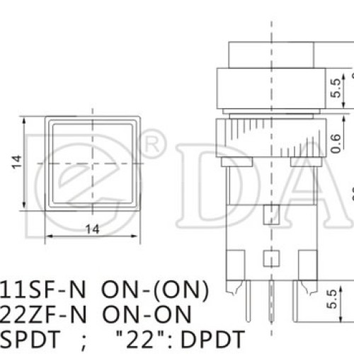A12-11SF Square Momentary Push Button Switch