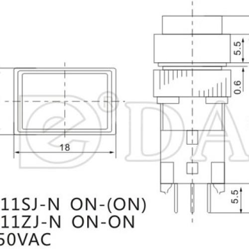 A12-11SJ No Lock Push Button Switch
