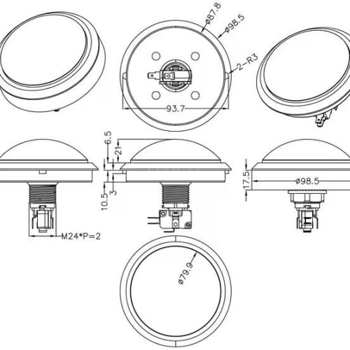PBS-100 Dome Shaped LED Push Button Switch