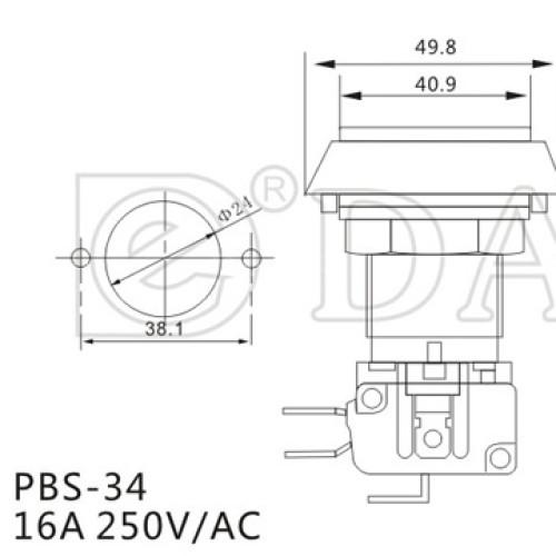 PBS-34 Square Illuminated Push Button Switch