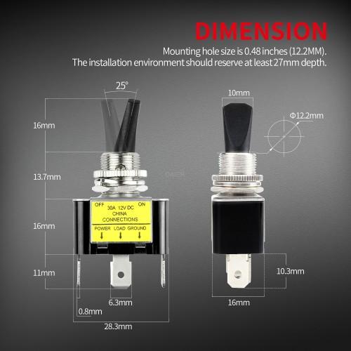 ASW-07D-2 LED Illuminated Toggle Switch