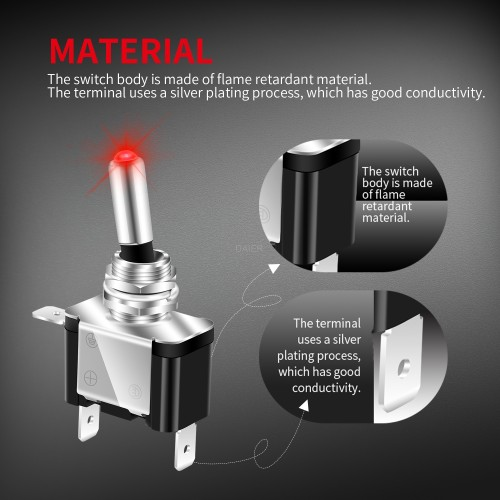 ASW-07D 20A Automotive toggle switch with LED
