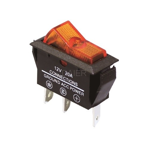 ASW-09D SPST Auto Rocker Switch with Lamp