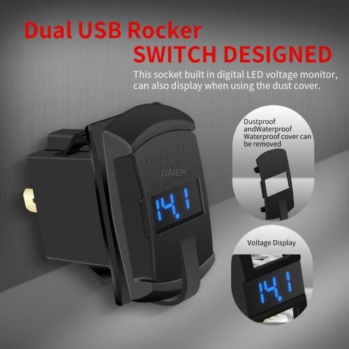 DS2013-E 4.2A Waterproof Rocker Dual USB Car Charger