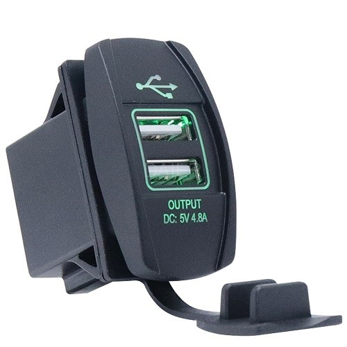 DS2013L-4.8A Rocker Style Car USB Charger
