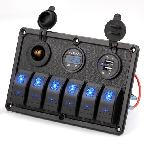 PN-R6S3 6 Gang Marine Rocker Switch Panel