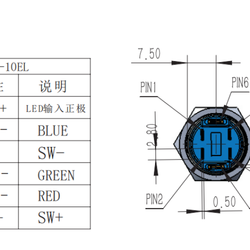 TS16-10EL-RGB Waterproof Toggle Switch with LED