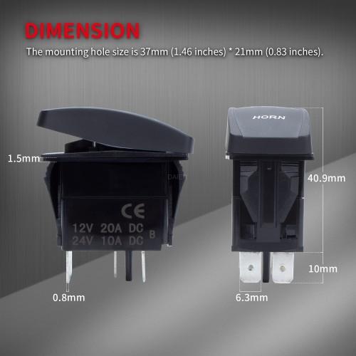 DR-A11L25BBL-LB4 Horn Button Rocker Switch