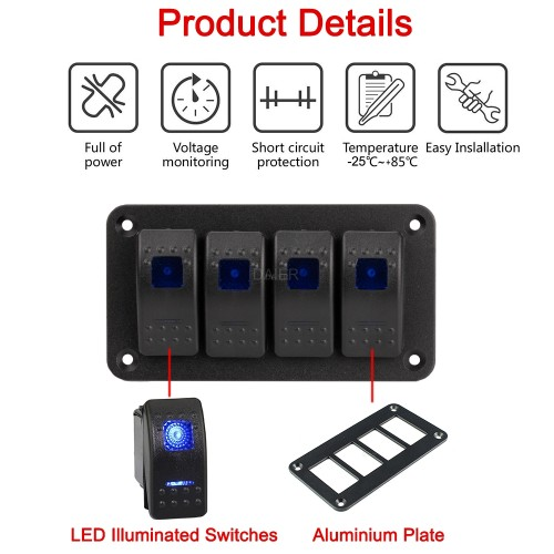 PN-1814 4 Gang Led Rocker Switch