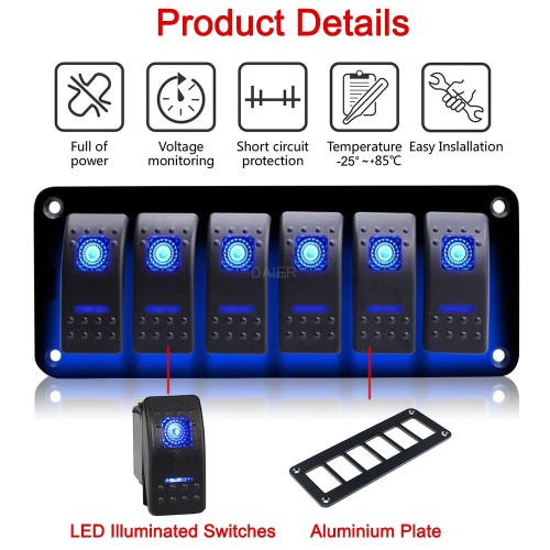 PN-1816 6 Gang Aluminum Switch Panel