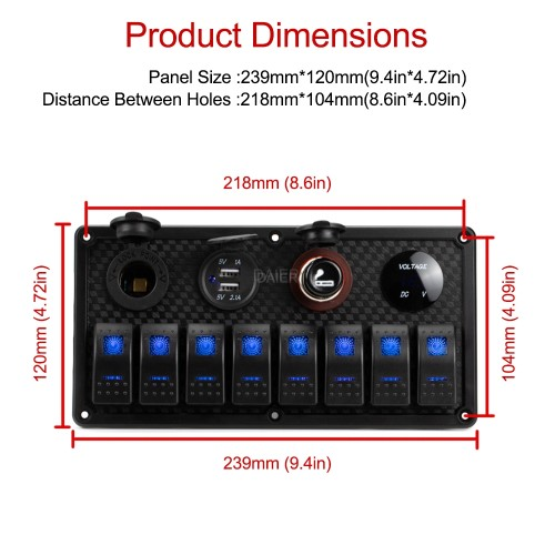 PN-R8S4 Marine Light Control Switch Panel