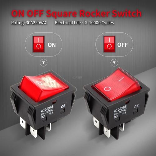 KCD2-201N-B 30 Amp Lighted Rocker Switch