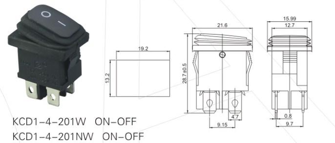 KCD1-4-201W Waterproof Rocker Switch 12V detailed