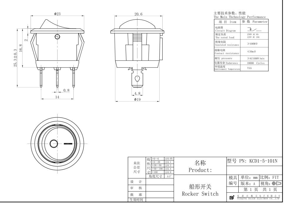 KCD1-5-101N LED Indicated Rocker Switch datasheet