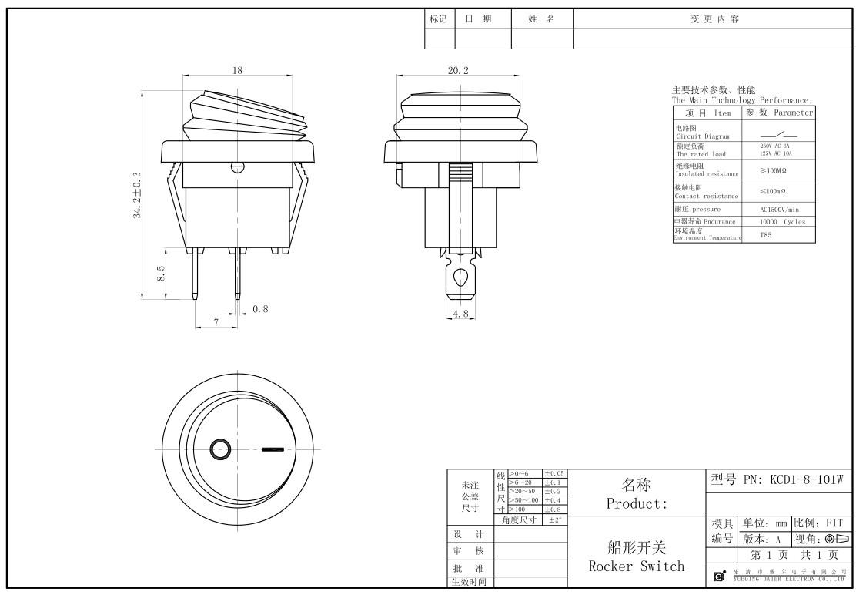 KCD1-8-101W Waterproof Boat Rocker Switch datasheet