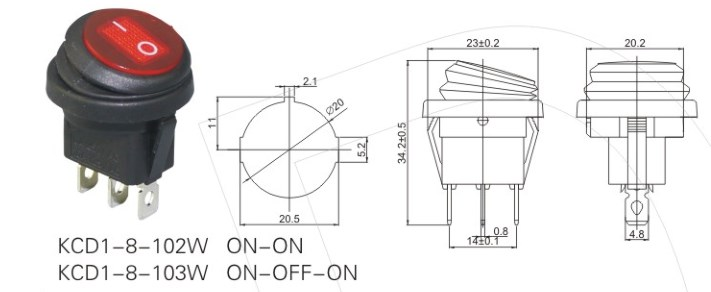 KCD1-8-103W Red Lighted 3 Prong Rocker Switch datasheet