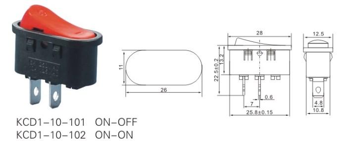 KCD1-10-101 Rocker Type Switch T55 datasheet
