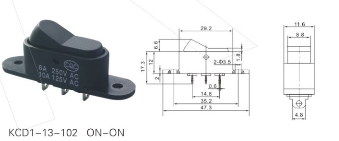 KCD1-13-102 Black Rocker Switch datasheet