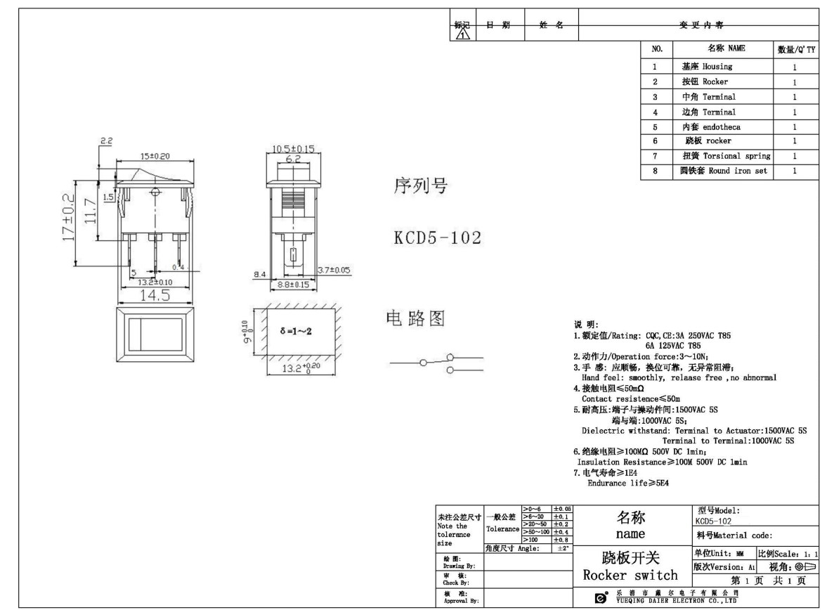 KCD5-102 Two Position Mini Rocker Switch datasheet