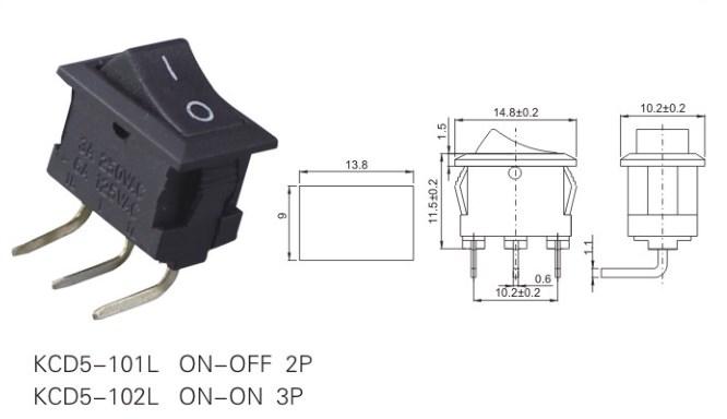 KCD5-102L Small Single Pole Rocker Switch datasheet