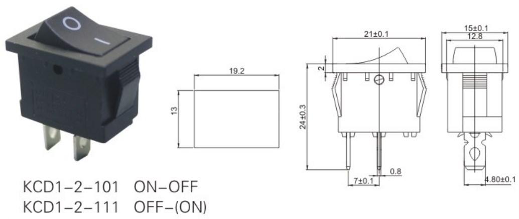 KCD1-2-101 SPST Rocker Switch datasheet