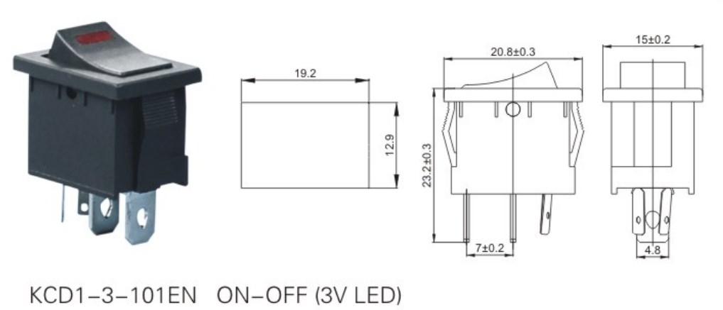 KCD1-3-101EN Led Rocker Switch datasheet