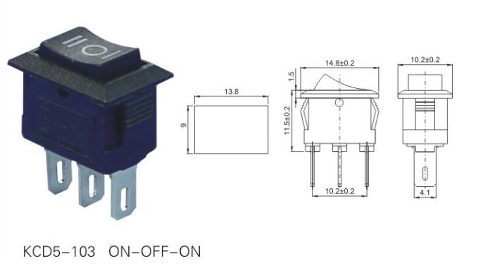 KCD5-103 Three Position 3 Pin Rocker Switch datasheet