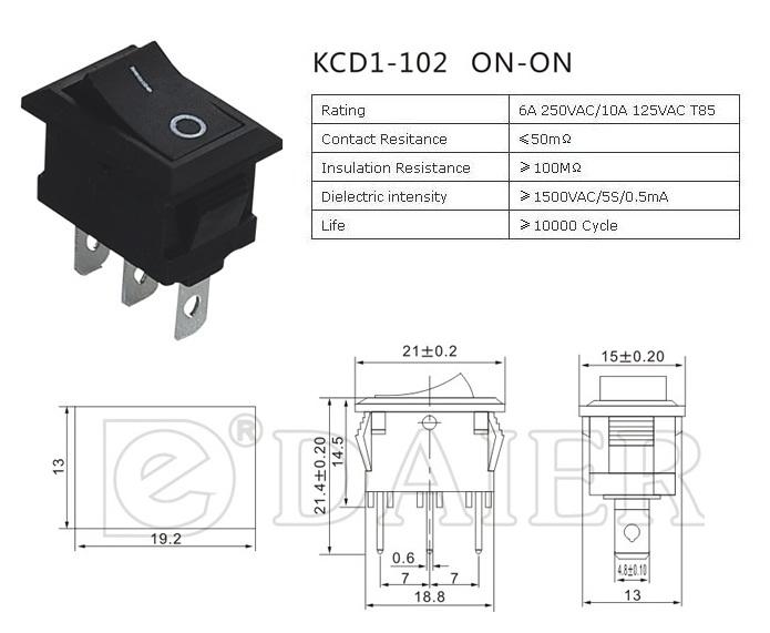 KCD1-102 2 WayRocker Switch datasheet