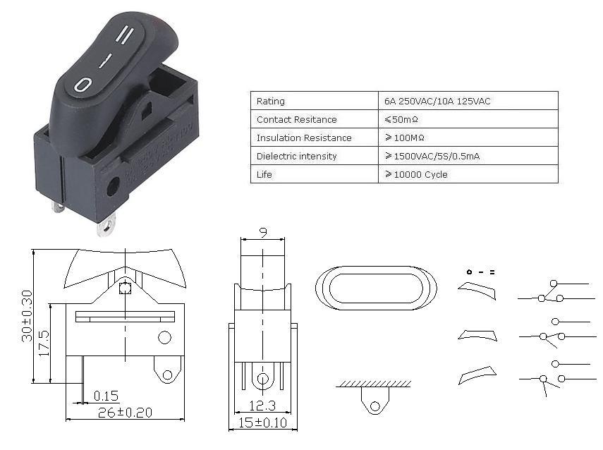 KCD1-122-1 Hair Dryer Rocker Switch datasheet
