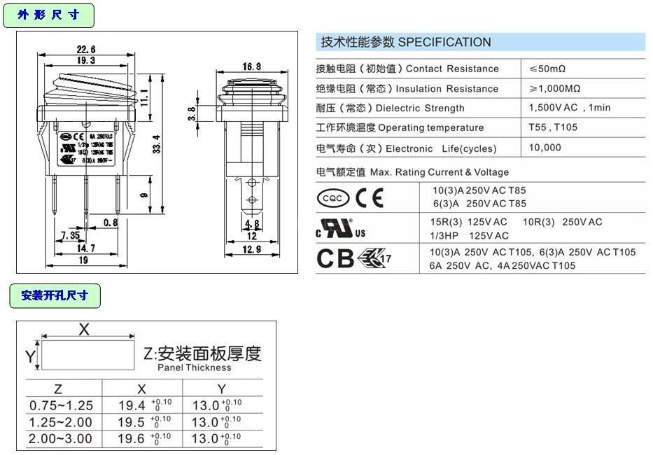 KCD1-2-102W IP65 Rocker Switch detailed