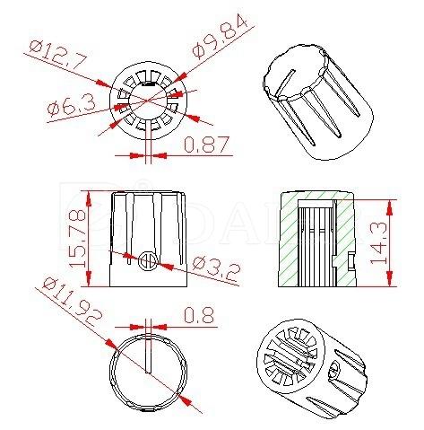 KN-1900H potentiometer knob 6.3mm