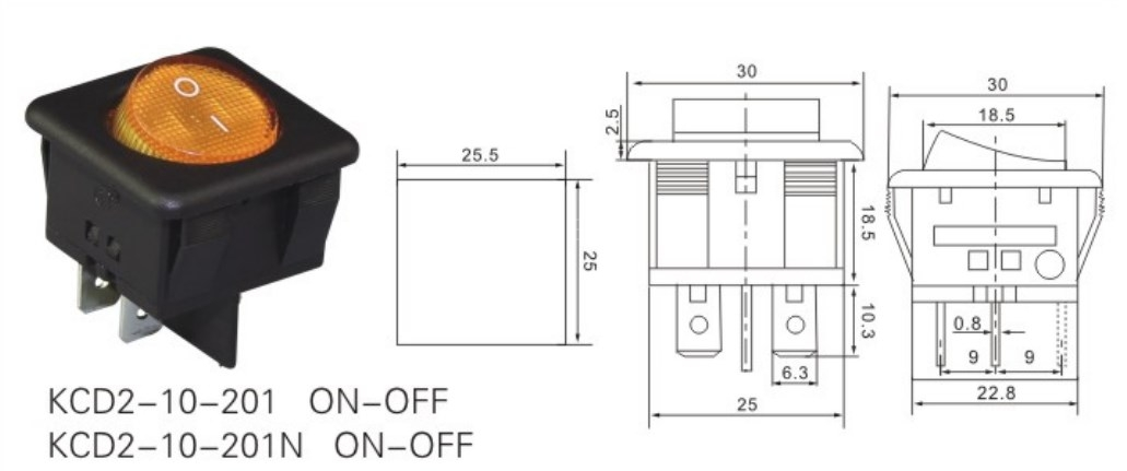 KCD2-10-201 Square Lighted Rocker Switch datasheet