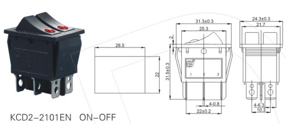 KCD2-2101EN 2 Way Maintained Rocker Switch datasheet