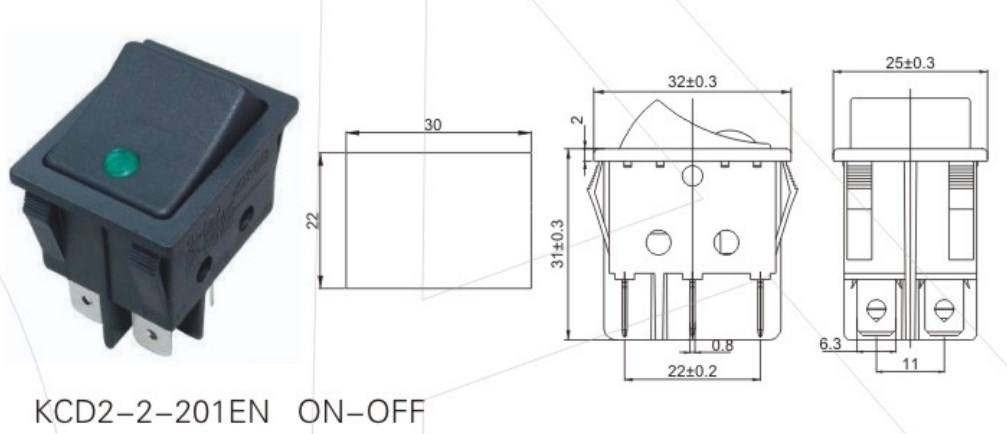 KCD2-2-201EN Green Illuminated Rocker Switch datasheet