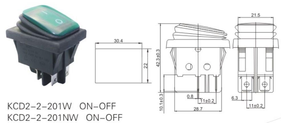 KCD2-2-201NW 12V Rocker Switch Waterproof datasheet