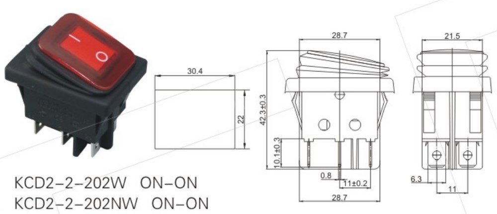 KCD2-2-202W 2 Position Rocker Button Switch datasheet