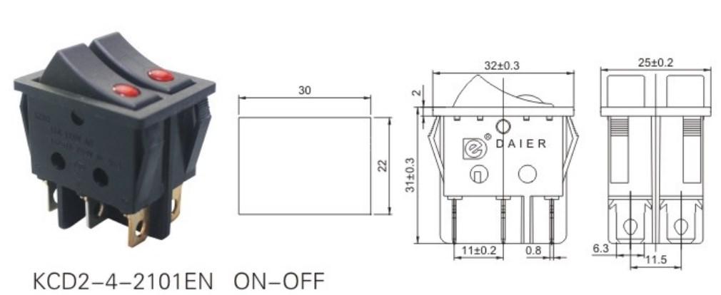 KCD2-4-2101EN Dual Pole Rocker Switch datasheet