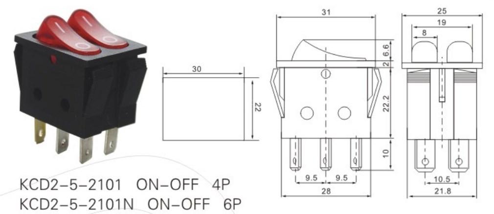 KCD2-5-2101N 20 Amp Rocker Switch datasheet