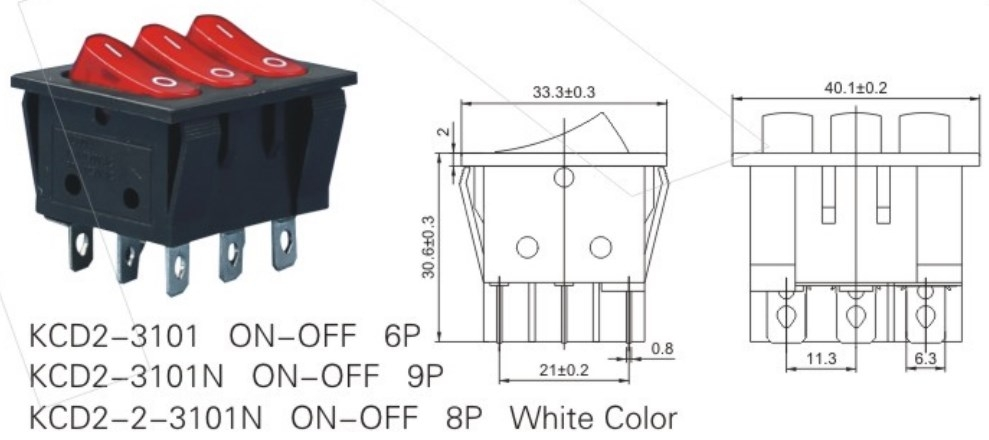 KCD2-3101N 3 Pole Rocker Switch datasheet