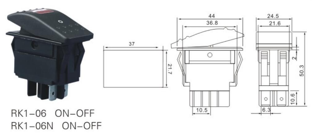 RK1-06N 12 Volt Lighted Rocker Switch datasheet