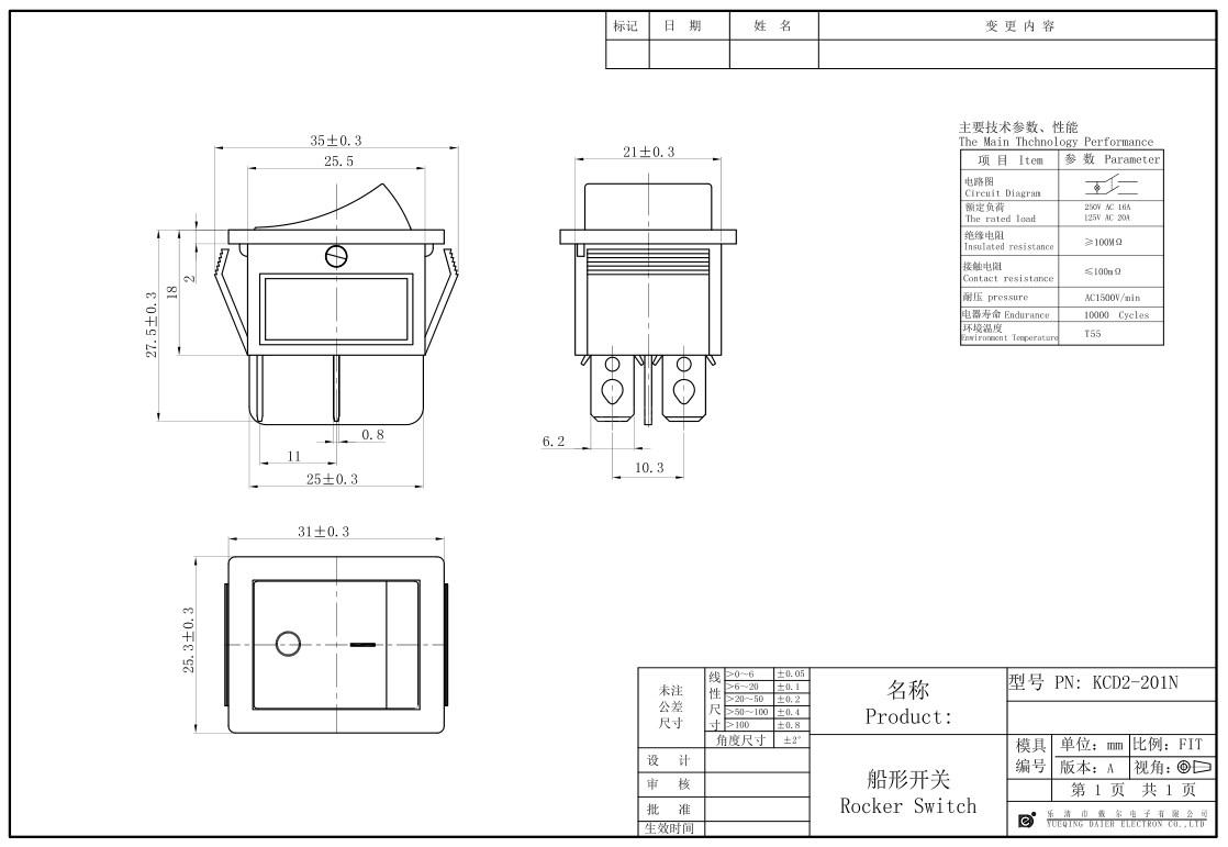 KCD2-201N 20A Illuminated Rocker Switch datasheet