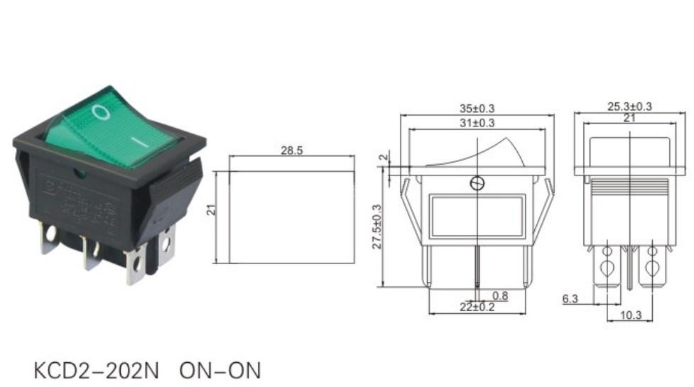 KCD2-202N 12V 2 Way Rocker Switch datasheet