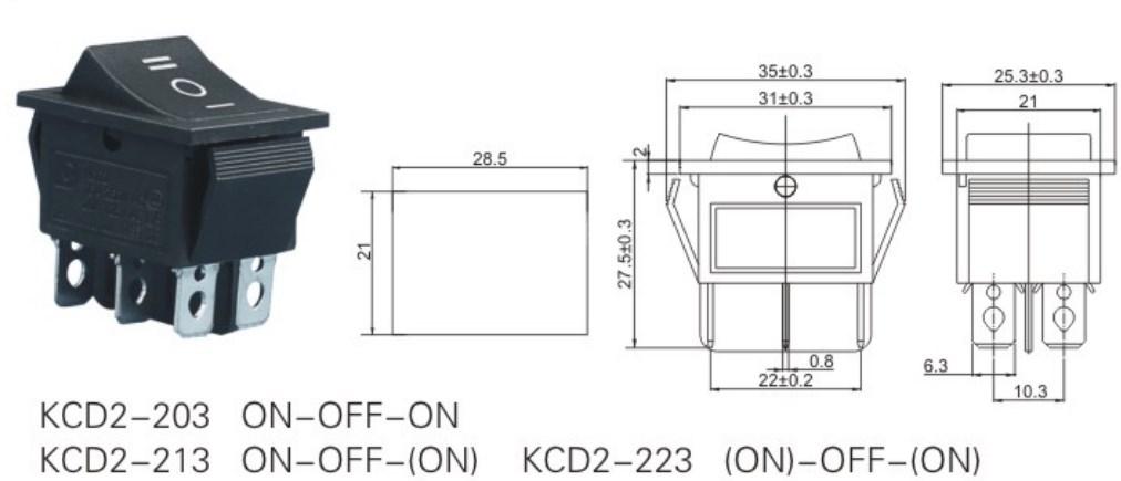 KCD2-203 Three Position Rocker Switch datasheet